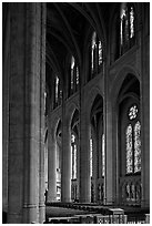 Nave and stained glass windows, Grace Cathedral. San Francisco, California, USA (black and white)