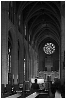 Organist, nave, and rose window, Grace Cathedral. San Francisco, California, USA ( black and white)