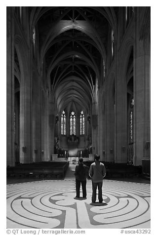 Men standing on the Labyrinth, Grace Cathedral. San Francisco, California, USA (black and white)