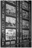 Ghiberti doors called Gates of Paradize, Grace Cathedral. San Francisco, California, USA (black and white)