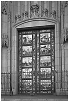 Copy of doors of the Florence Baptistry by Lorenzo Ghiberti, Grace Cathedral. San Francisco, California, USA ( black and white)