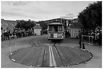 Turntable and cable car. San Francisco, California, USA ( black and white)