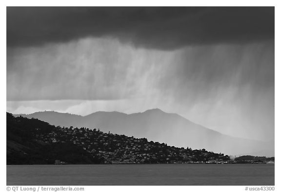 Storm clouds across the San Francisco Bay. California, USA (black and white)