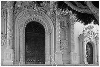 Facade detail with doors, Mission Dolores Basilica. San Francisco, California, USA (black and white)