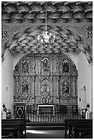 Altarpiece, Mission San Francisco de Asis. San Francisco, California, USA (black and white)