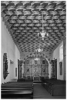 Interior of the Mission Dolores Chapel. San Francisco, California, USA (black and white)