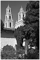 Bell towers of the Basilica seen from the Garden, Mission San Francisco de Asis. San Francisco, California, USA ( black and white)