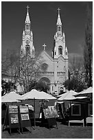 Art fair and St Peter and Paul Church, North Beach. San Francisco, California, USA (black and white)
