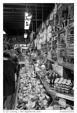 Black and white picture photo inside italian gourmet grocery store little italy north beach san francisco california usa