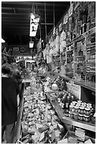 Inside Italian gourmet grocery store, Little Italy, North Beach. San Francisco, California, USA (black and white)