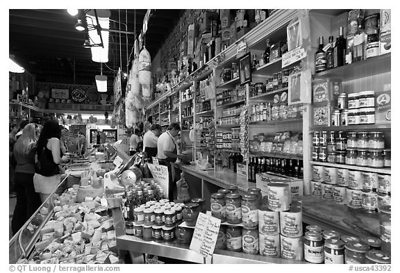 Black and white picture photo italian grocery store interior with customers little italy north beach san francisco california usa