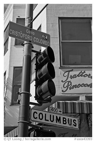 Traffic light and signs, Little Italy, North Beach. San Francisco, California, USA (black and white)