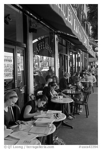 Cafe outdoor sitting, Little Italy, North Beach. San Francisco, California, USA (black and white)