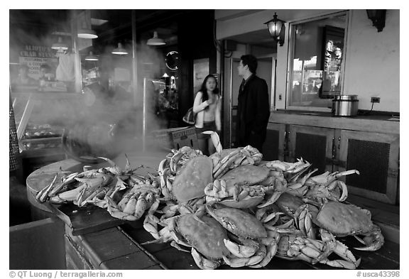Crabs ready to be cooked, Fishermans wharf. San Francisco, California, USA (black and white)