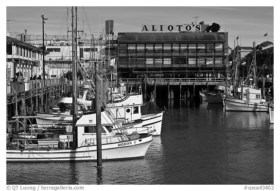 Aliotos restaurant and fishing fleet, Fishermans wharf. San Francisco, California, USA (black and white)