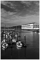 Marina and Fort Mason center. San Francisco, California, USA (black and white)