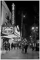 Criterion Movie theater at night, Third Street Promenade. Santa Monica, Los Angeles, California, USA ( black and white)