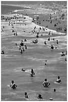 People in water, Santa Monica Beach. Santa Monica, Los Angeles, California, USA (black and white)