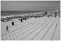 Anti-war memorial on Santa Monica beach. Santa Monica, Los Angeles, California, USA ( black and white)