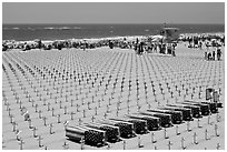 Arlington West Iraq war memorial, Santa Monica beach. Santa Monica, Los Angeles, California, USA ( black and white)
