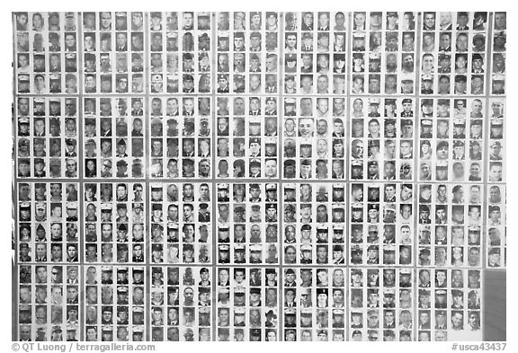 Photos of soldiers fallen in Iraq, Arlington West. Santa Monica, Los Angeles, California, USA (black and white)