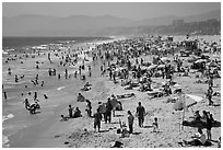 Crowded beach in summer. Santa Monica, Los Angeles, California, USA (black and white)