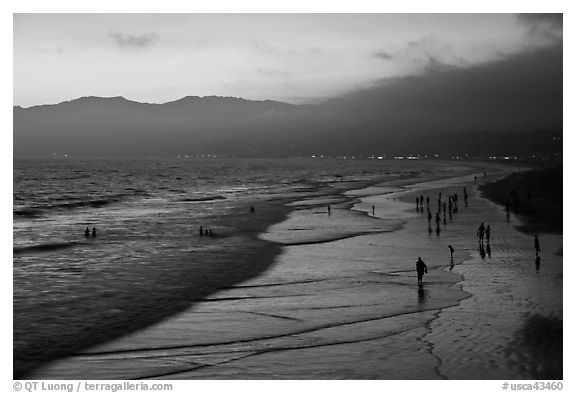 Beach with purple color at sunset. Santa Monica, Los Angeles, California, USA (black and white)