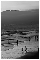 Santa Monica Beach and Mountains at sunset. Santa Monica, Los Angeles, California, USA ( black and white)