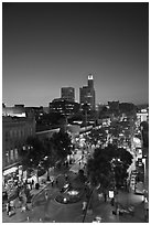 Third Street Promenade and downtown buildings at sunset. Santa Monica, Los Angeles, California, USA ( black and white)