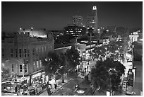 Night view from above of Third Street Promenade. Santa Monica, Los Angeles, California, USA ( black and white)