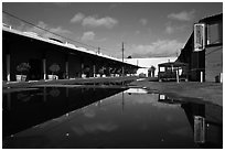 Reconverted industrial buildings, Bergamot Station. Santa Monica, Los Angeles, California, USA ( black and white)