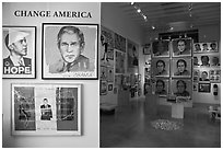 Political art, Bergamot Station. Santa Monica, Los Angeles, California, USA (black and white)