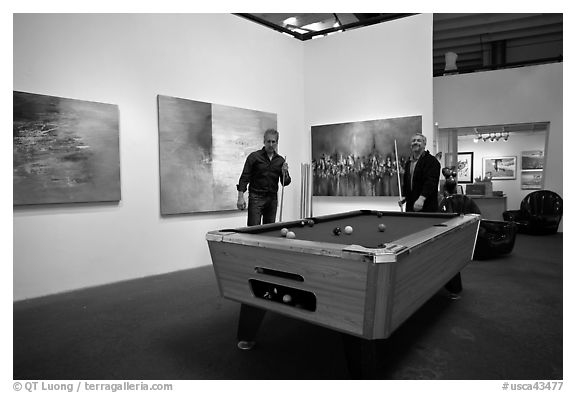 Black and white picture photo playing pool inside a contemporary art gallery bergamot station santa monica los angeles california usa