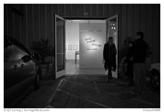 Gallery entrance at night, Bergamot Station. Santa Monica, Los Angeles, California, USA