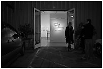 Gallery entrance at night, Bergamot Station. Santa Monica, Los Angeles, California, USA (black and white)