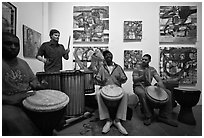 Alan Tarbell, his artworks, and African drums that inspired him, Bergamot Station. Santa Monica, Los Angeles, California, USA (black and white)