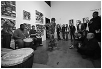Live music and dance performance in art gallery, Bergamot Station. Santa Monica, Los Angeles, California, USA ( black and white)