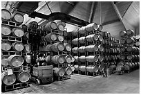 Winery barrel room and forklift. Napa Valley, California, USA (black and white)