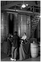 Couple tasting wine. Napa Valley, California, USA (black and white)