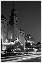 Historic movie theater at night, Sonoma. Sonoma Valley, California, USA (black and white)