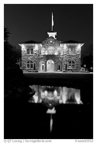 City Hall at night, Sonoma. Sonoma Valley, California, USA (black and white)