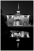 City Hall at night, Sonoma. Sonoma Valley, California, USA ( black and white)