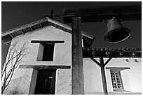 Bell and Mission Sonoma. Sonoma Valley, California, USA ( black and white)