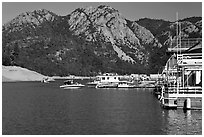 Boats in marina, Shasta Lake. California, USA (black and white)