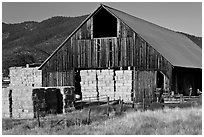 Barn and hay, Yreka. California, USA ( black and white)
