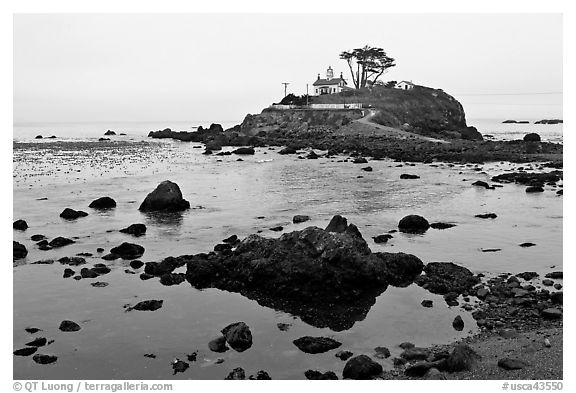 Battery Point Lighthouse on semi-islet, Crescent City. California, USA (black and white)