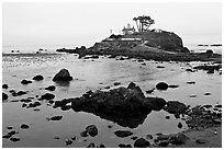 Battery Point Lighthouse on semi-islet, Crescent City. California, USA ( black and white)