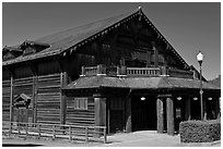 Historic building made of redwood, Scotia. California, USA ( black and white)