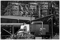 Pacific Lumber Company mill and truck, Scotia. California, USA ( black and white)