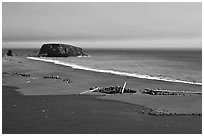Russian River estuary and beach, Jenner. Sonoma Coast, California, USA ( black and white)